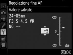 Regolazione fine AF - impostazioni