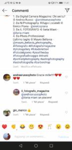 Commenti al post sul feed di Instagram