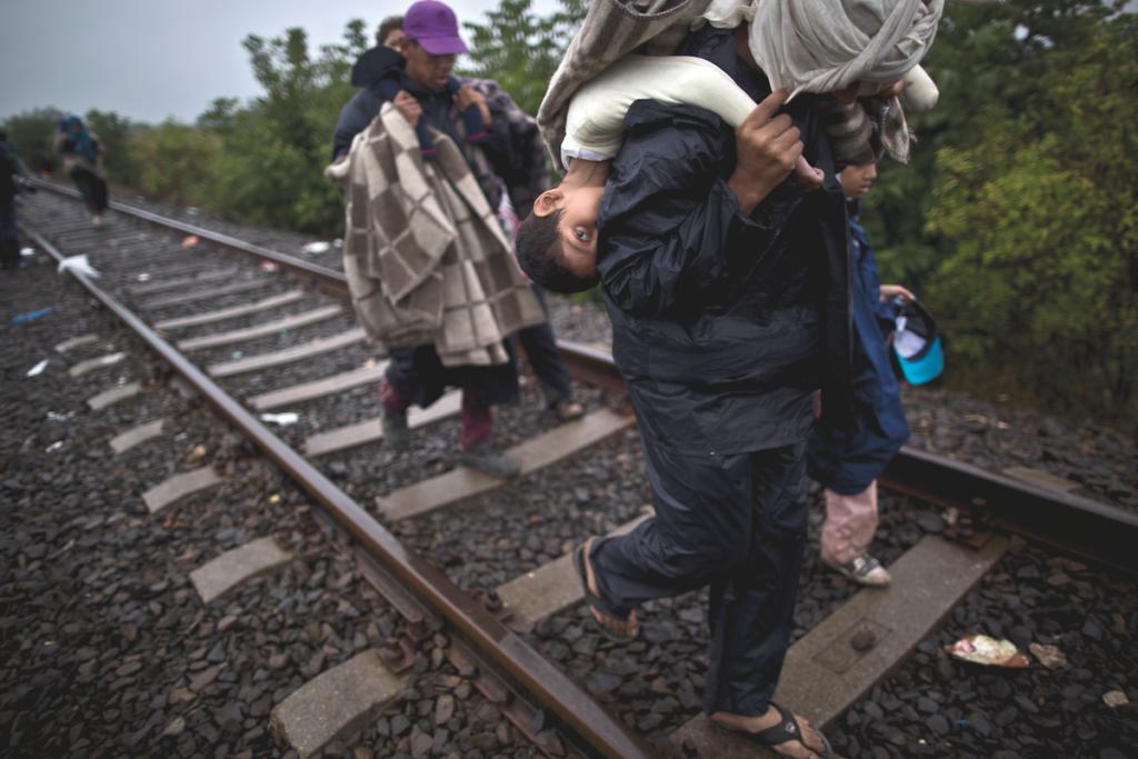 PASSATO IL CONFINE, UNGHERIA. Bara'ah Alhammadi, 10 anni, siriano, è portato in spalla dal padre mentre camminano sui binari dopo aver attraversato il confine serbo-ungarico nel sud dell'Ungheria.